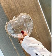 Angelatracy 2019 New Arrival Fashion Spring Summer Chain Mini Phone Transparent Heart Shape Women Shoulder Bag Crossbody