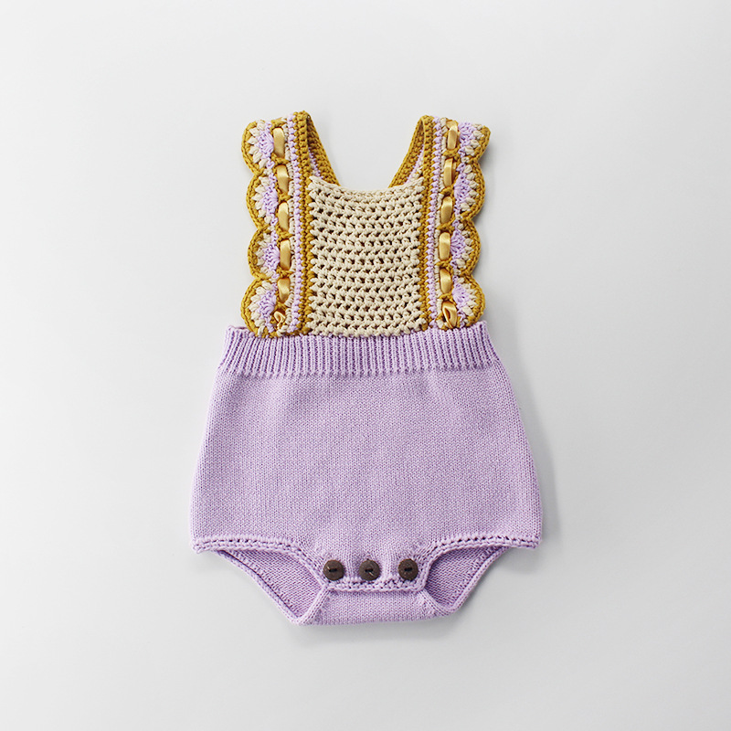 Sweet Ins Baby Girls Crochet Lavender Sweater Rompers Halter Lace Ruffles Cute Toddler Baby ClothesSweet Ins Baby Girls Crochet Lavender Sweater Rompers Halter Lace Ruffles Cute Toddler Baby Clothes