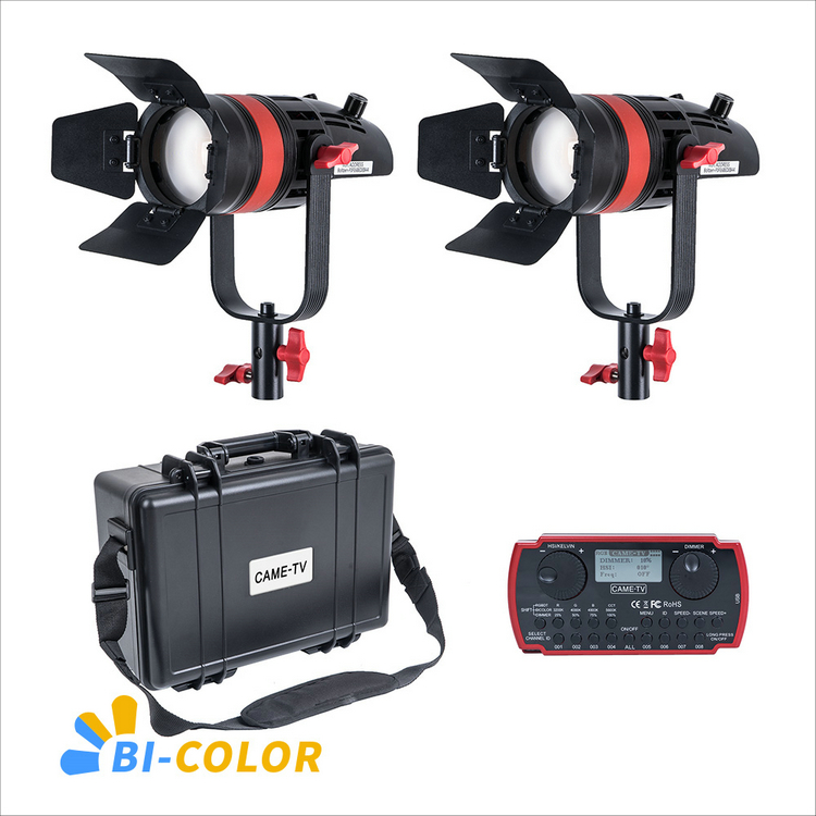 2 Pcs CAME TV Q 55S Boltzen 55w High Output Fresnel Focusable LED Bi Color Kit-in Photo Studio Accessories from Consumer Electronics