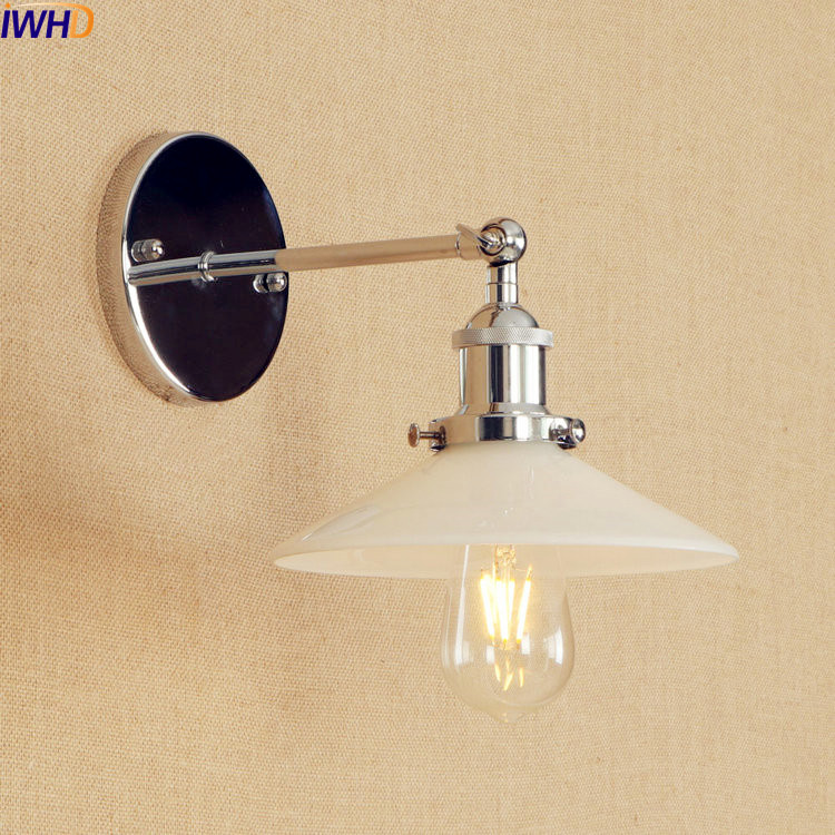White Glass LED Wall Lamp Vintage Edison American Adjustable Arm Industrial Wall Light Sconce Home Stair Lighting Living Room brass glass wall lights led vintage edison american home stair lighting living room adjustable arm industrial wall lamp sconce