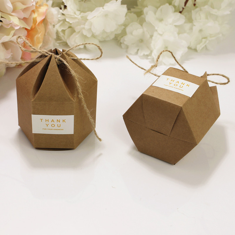 50pcs New Design Small Kraft Package Cardboard Paper Box,lantern Hexagon Craft Gift Candy Box Wedding Gift Packaging Craft Box