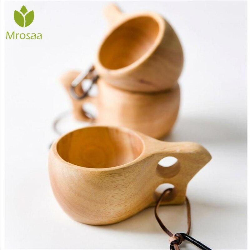 Chino portátil taza de café de madera de goma té leche tazas de agua potable tazas de hecho a mano de jugo de limón taza regalo de oficina