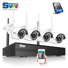 SW Новый 960 P HD Открытый ИК Ночного Видения Главная Видеонаблюдения безопасности IP WIFI Камеры ВИДЕОНАБЛЮДЕНИЯ Комплект 4CH Беспроводной Системы NVR + 1 ТБ HDD