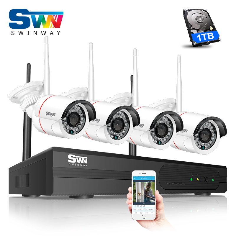 SW New 960P HD Outdoor IR Night-Vision Home Video Surveillance Security IP Camera WIFI CCTV Kit 4CH Wireless NVR System+1TB HDD