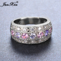 JUNXIN Brand Female Pink & Purple Amethyst Round Ring 925 Sterling Silver Filled Vintage Wedding Engagement Rings For Women