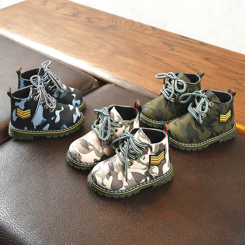 2020 Spring Baby Boots Camouflage Navy Baby Girls Shoes Non-slip And Waterproof Boys Martin Boots