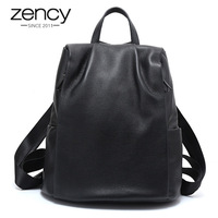 Zency Anti theft Women Backpack 100% Genuine Leather Black Travel Bag Big Schoolbag For Girls Fashion Female Knapsack Laptop