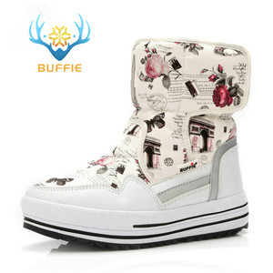 Image 2 - Lady Buffie Brand Fashion shoes mixed natural wool winter Women boots girl flower waterproof thermal snow boots colourful boots