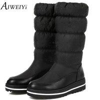 AIWEIYi 2018 Women Winter Warm Snow Boots Wedge Med Heel Round Toe Mid Calf Boots Elastic
