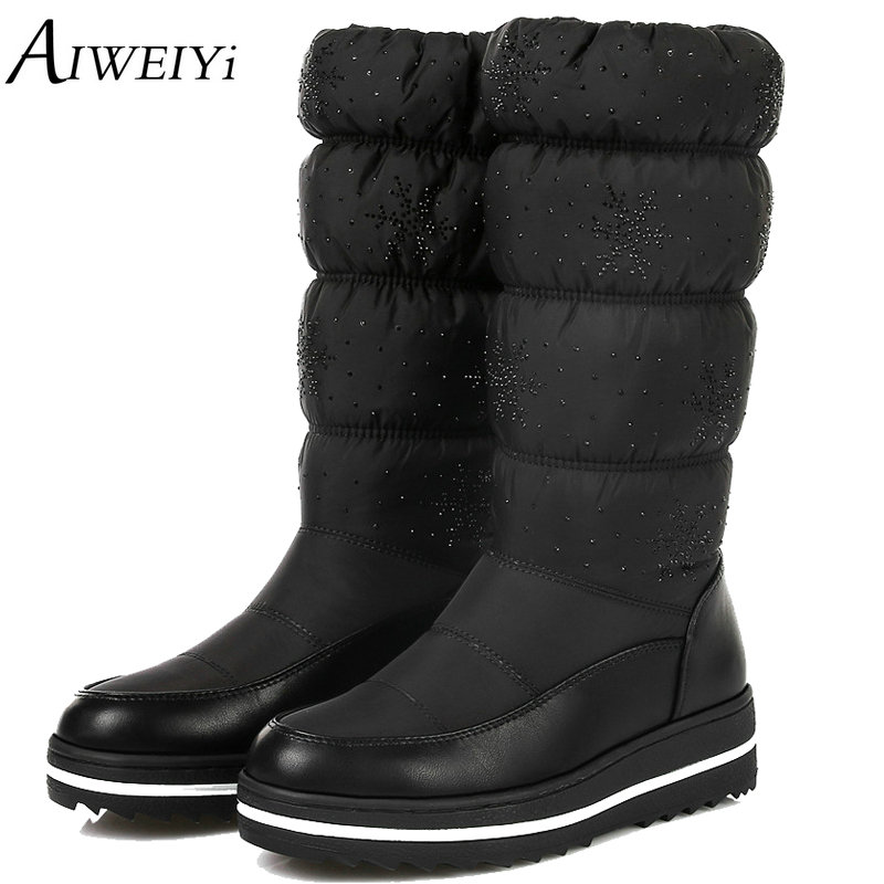AIWEIYi 2018 Women Winter Warm Snow Boots Wedge Med Heel Round Toe Mid Calf Boots Elastic Ladies Snow Boots Size 34-43