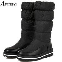 AIWEIYi 2018 Women Winter Warm Snow Boots Wedge Med Heel Round Toe Mid Calf Boots Elastic