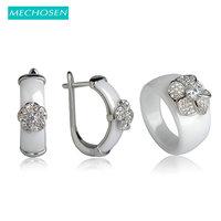 MECHOSEN Stunning Black Ceramic Earrings Ring Jewelry Set Luxury Zircon Anel Copper Flower Brincos Keramik Schmuck