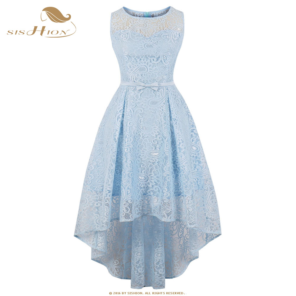Sexy Long Sleeveless Women Dress Blue Princess Back Short Vd0802 Party Size Lace Dresses Sishion Light Front Plus wvOqHH