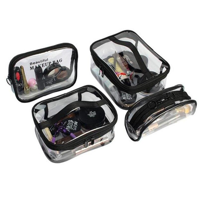 Women Transparent PVC Cosmetic Bag Travel Makeup Bag Bathroom Waterproof Organizer Bag Cosmetic Packaging Cube Storage Bags