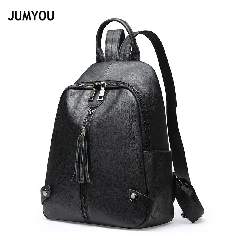 Genuine Leather Backpacks Travel Backpacks For Girl Large Black Tassel Rivet Casual Fashion Real Leather Backpack Bags For WomenGenuine Leather Backpacks Travel Backpacks For Girl Large Black Tassel Rivet Casual Fashion Real Leather Backpack Bags For Women
