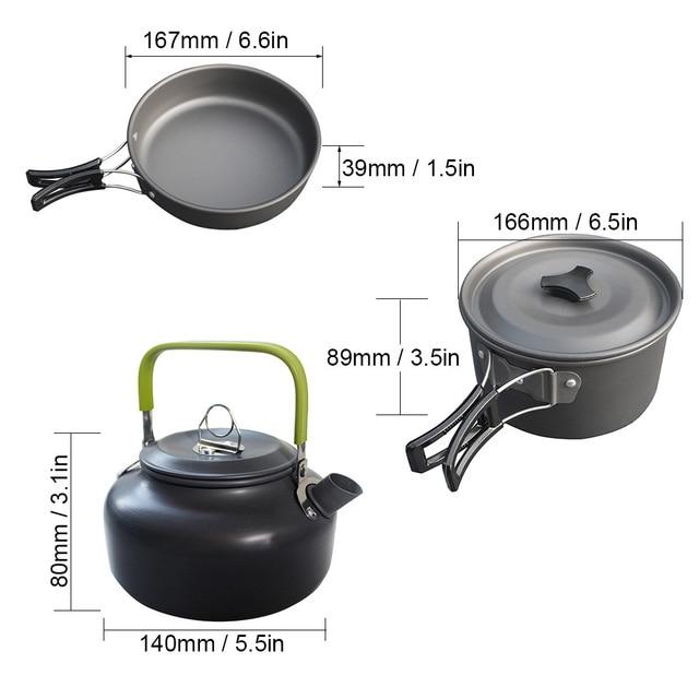 Ultra-light Aluminum Alloy Camping Cookware Utensils Outdoor Cooking Teapot Picnic Tableware Kettle Pot Frying Pan 3pcs/Set 5
