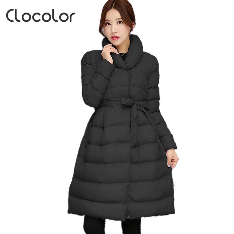 Clocolor aşağı Ceket Kadın kış Kadın Sıcak orta uzunlukta parka A-line işık Giyim Pamuk kız Elbise moda sıcak coat