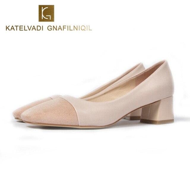 Womenu0027s Shoes With Heels Square Toe Leather Women Medium Heel Wedding Shoes  Women Low Heel Shoes