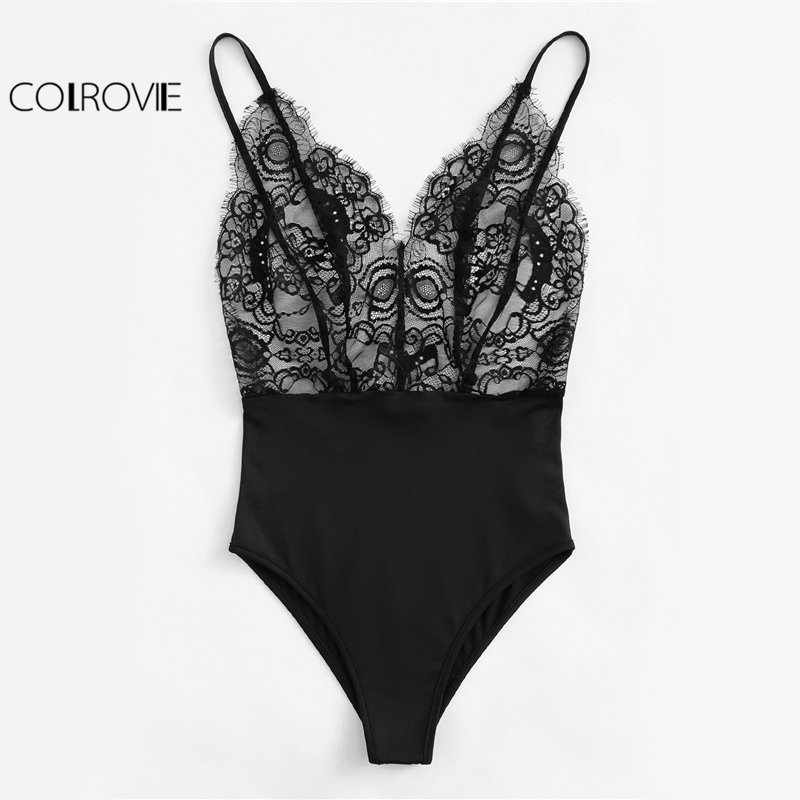 Colrovie Vintage Lace Cami Bodysuit Mixed Media Women Patchwork Slim Sleeveless Bodysuits Black V Neck Basic Strap Bodysuit