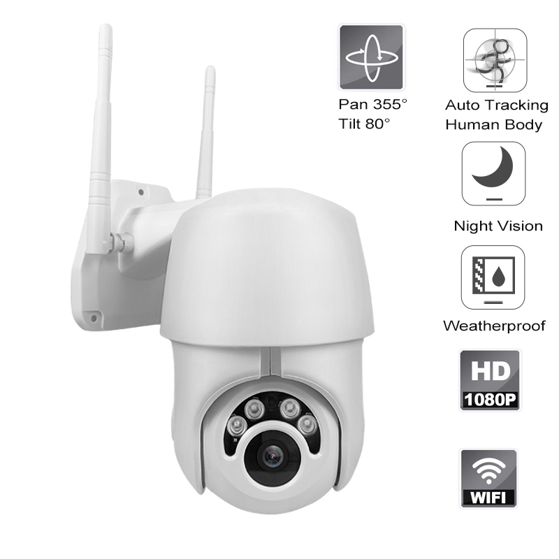 HD 1080P Outdoor Pan Tilt WiFi Camera Auto Tracking Of Human Body Smart IP Camera Two Way Audio Night Vision Support Onvif