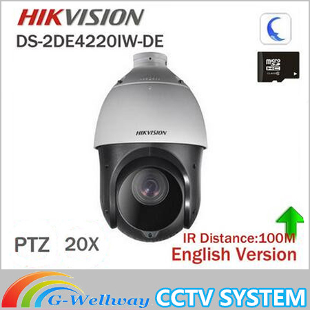 DHL Free shipping english version DS-2DE4220IW-D 2MP IP Camera Mini PTZ Camera security Camera instead of DS-2DE4582-A hikvision ds 2de7230iw ae english version 2mp 1080p ip camera ptz camera 4 3mm 129mm 30x zoom support ezviz ip66 outdoor poe