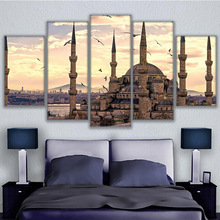 Home Decor Paintings On Canvas Wall Modular 5 Panel Sultan Ahmed Mosque Modular Pictures Vintage For Living Room HD Print