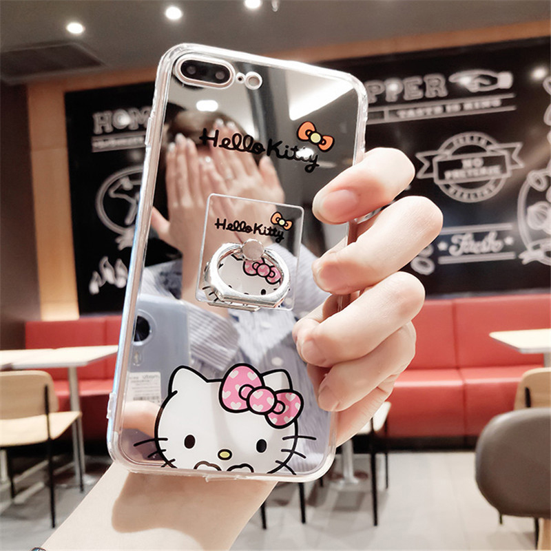 Cute Cartoon Hello Kitty Cat Mirror Phone Iphone 6 6S 7 Plus 5 SE 5S Silicone Cases Soft TPU Back Cover Fundas