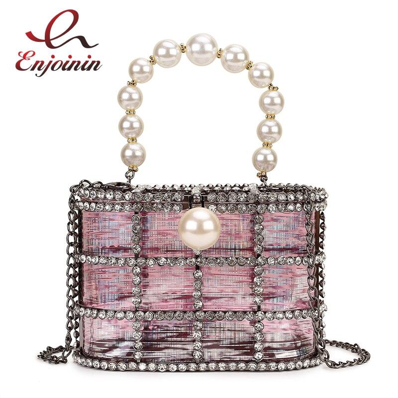 Luxe métal diamant Transparent PVC perle poignée femmes parti sac à main sac de soirée chaîne sac à main sac à bandoulière femme pochette fourre-tout
