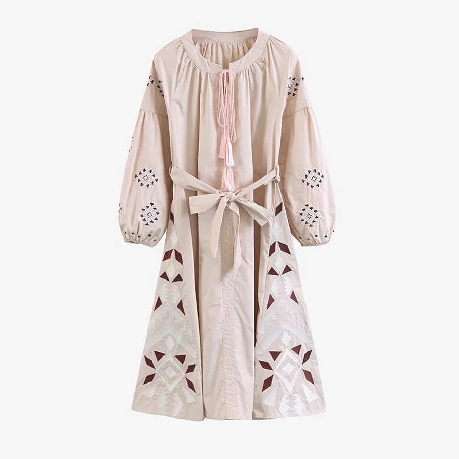 TEELYNN ethnic dress Floral Embroidery 2018 spring vintage lantern long Sleeve boho dresses Casual loose Bohemia
