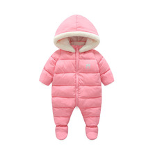 Baby Snowsuit 1-2Y Down Coat Fleece Liner Baby Girls Boys Winter Jackets Hooded Snow Wear With Bootie Duck Down Parka Pram Suits