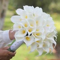 2016 חם 2 הצבע היפה פרחים מלאכותיים 30 יחידות שנהב/צהוב כלה לילי זר הכלה זר כלה פרח ארוך זרי