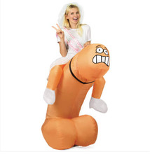 Stag Night Halloween Inflatable Willy Adult Fancy Dress Costume Penis Cosplay Outfit Dick For Halloween Purim Party 150cm-200cm