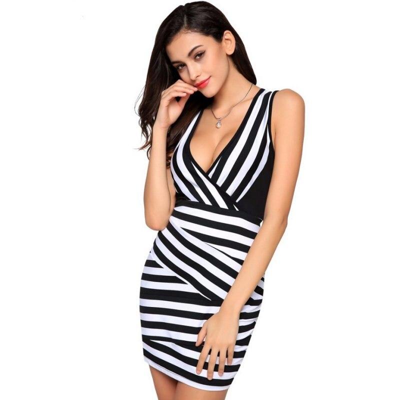 Женское платье Черный и белый полосатый сетки лоскутное сексуальные v-образным вырезом оболочка мини платье D69
