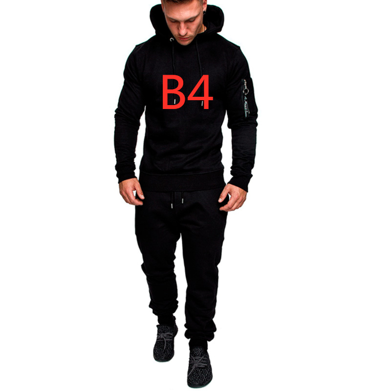 B4 Camouflage Print Any Logo For Men's Set Slim Patchwork Jacket 2Pcs Tracksuit Sportswear Hoodies Sweatshirt Pants Jogger Suit