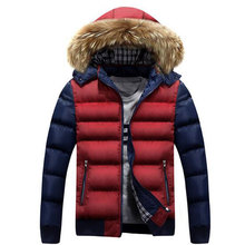 2015 New Arrival Fashion Men Contrast Color Cotton Coat Men Jacket Winter Style Outdoors Outwear  Causal Wear Y00219