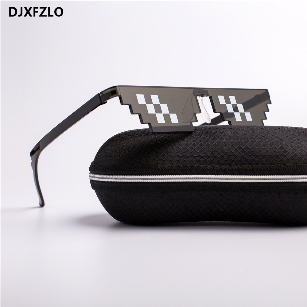 DJXFZLO 2018  Glasses 8 Bit MLG Pixelated Sunglasses Men Women Brand Thug Life Party Eyeglasses Mosaic Vintage Eyewear UV400