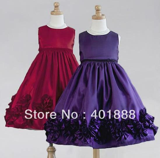 Online Shop short round neck applique taffeta flower girl dress ...