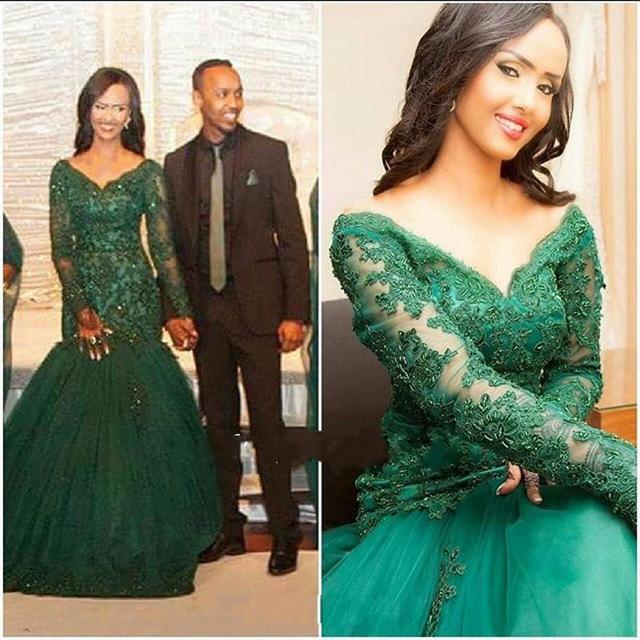 d3afe24ac032 Emerald Green Mermaid Off The Shoulder Beaded Lace Applique Prom Dress With Long  Sleeve Vestido De Festa