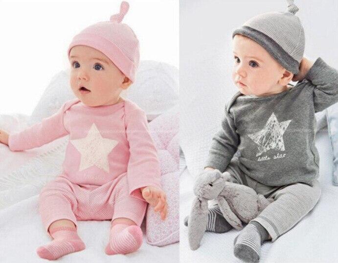 2017 new arrival girls boys clothes star pattern short sleeved cloud t shirt + pants Set. bebe newborn infant clothing set