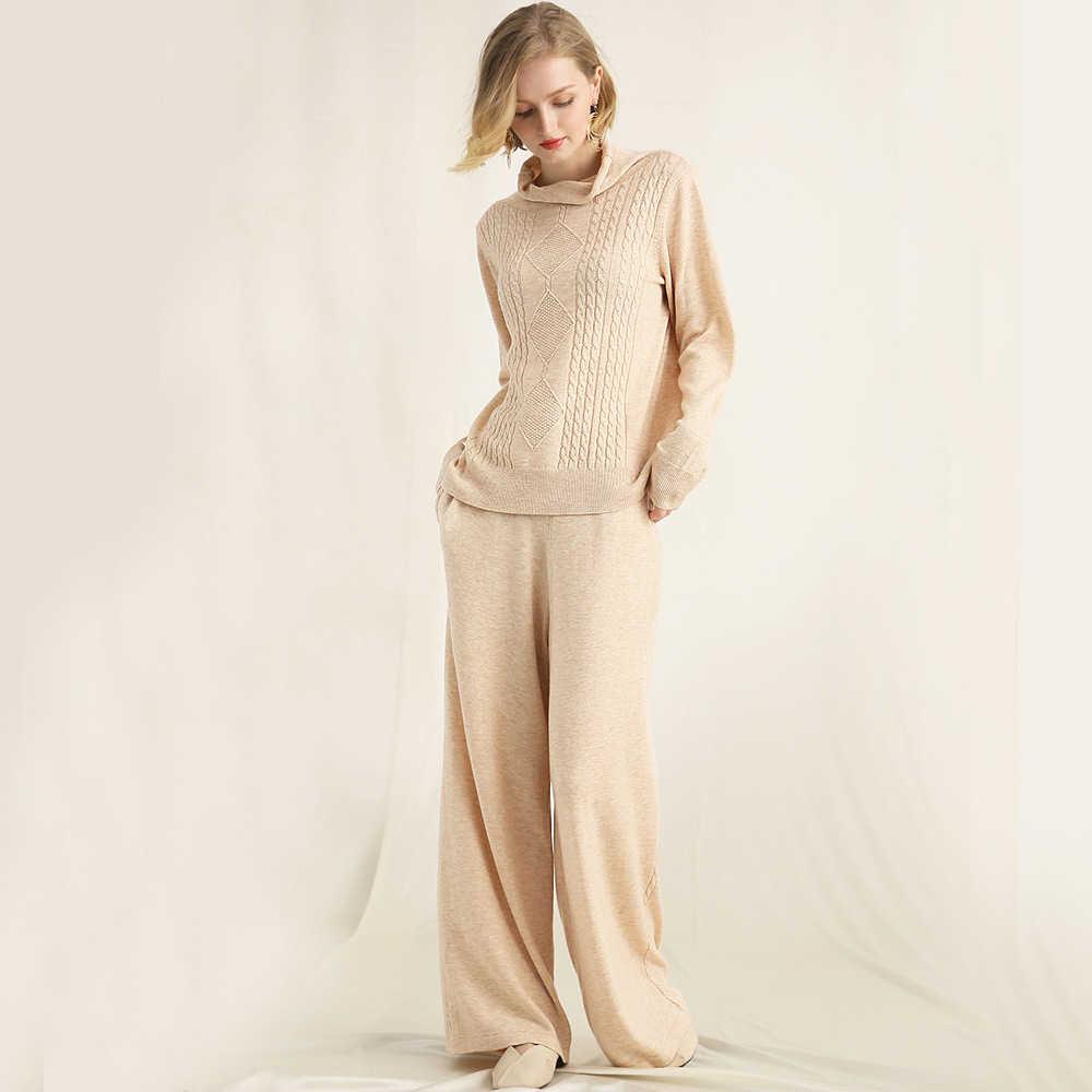 11673c851c3 Трикотажные костюмы Для женщин Двойка 30% шерсть одежда с длинным рукавом  Длинные штаны 2 цвета