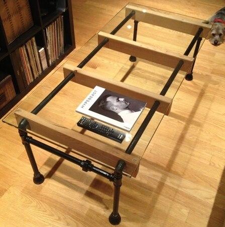 new american retro rural tubos de hierro de cristal creativo simple de madera de pino mesa