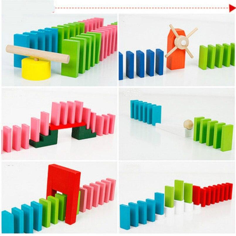 Деревянные цветные домино аксессуары для настольной игры домино блоки Радужный пазл домино Монтессори Развивающие игрушки для мальчиков