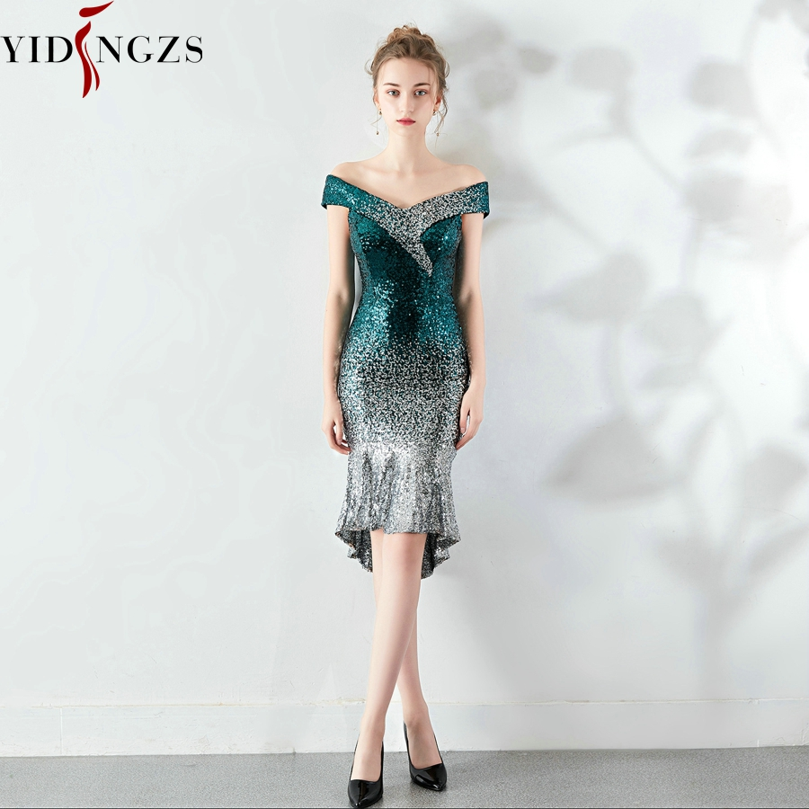 YIDINGZS New Women Elegant Short Sequin Prom Dress Knee Length Sparkle Evening Party Dress YD16181 5