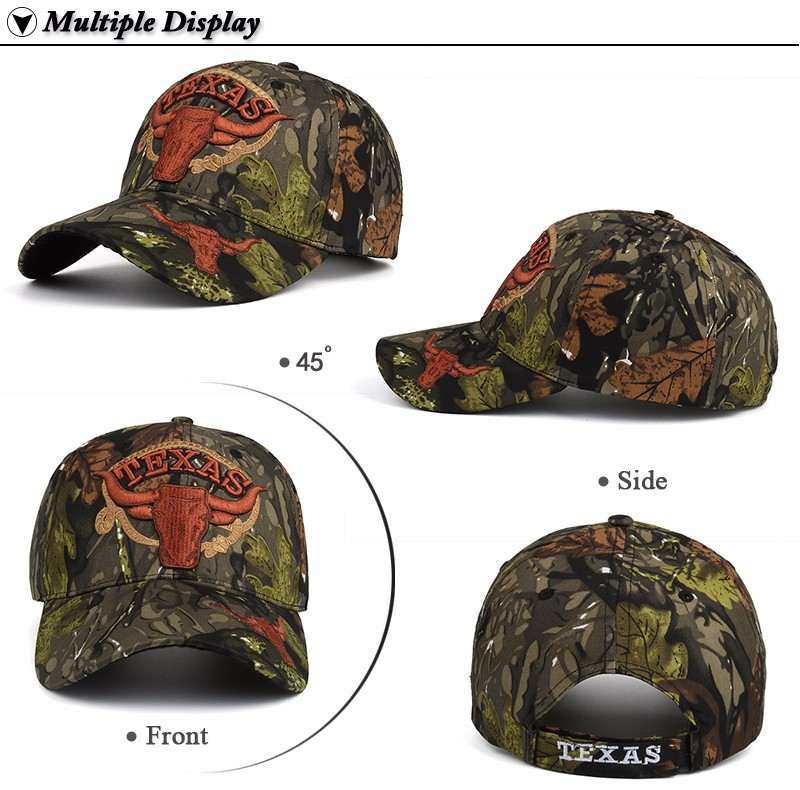 """Embroidered """"Texas"""" and Bull Horns Camo Baseball Cap - Front Angle, Side, Front and Rear Views"""