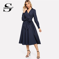 Sheinside Navy Self Belted A Line Office Lady Work Midi Dress High Waist Surplice Neck Fit and Flare Women Fall Elegant Dresses