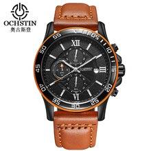 Ochstin спортивные мужские часы лучший бренд класса люкс мужчины кожа часы водонепроницаемый хронограф кварцевый военная наручные часы мужчины часы саат