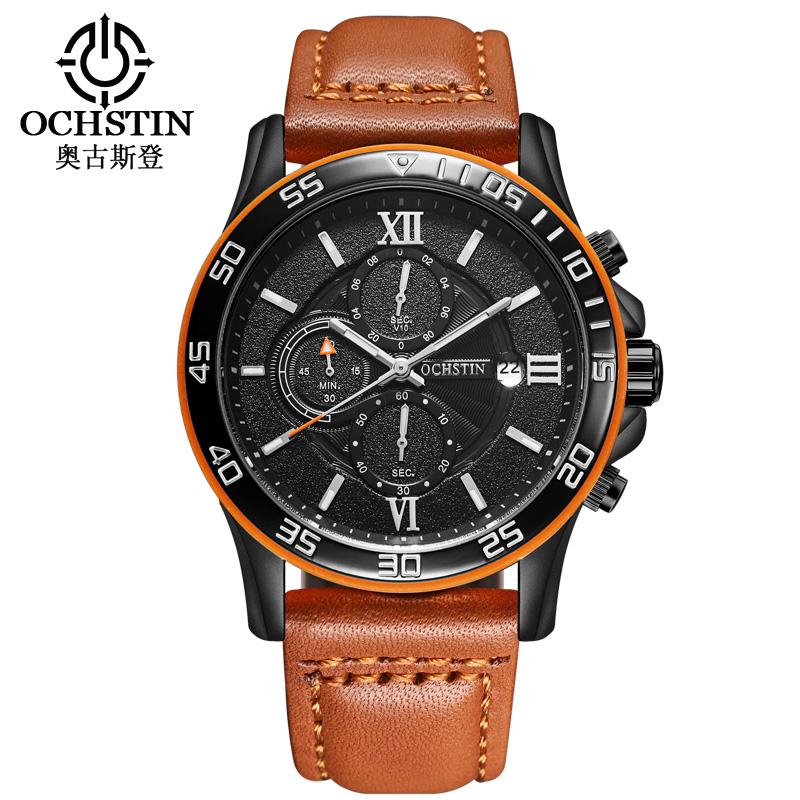 Prix pour Ochstin sport montre homme top marque de luxe mâle en cuir montres étanche chronographe quartz montre-bracelet militaire hommes horloge saat