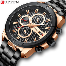лучшая цена 2019 CURREN Men Watches Black Sport 3ATM Waterproof Multifunction Stainless Steel Band Calendar Stop Watch Large Dial Male Clock