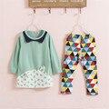 Nueva ropa de los niños niñas juegos de ropa del bebé lindo de la camiseta legging 2 unids set niños ropa niñas ropa 2-7 años