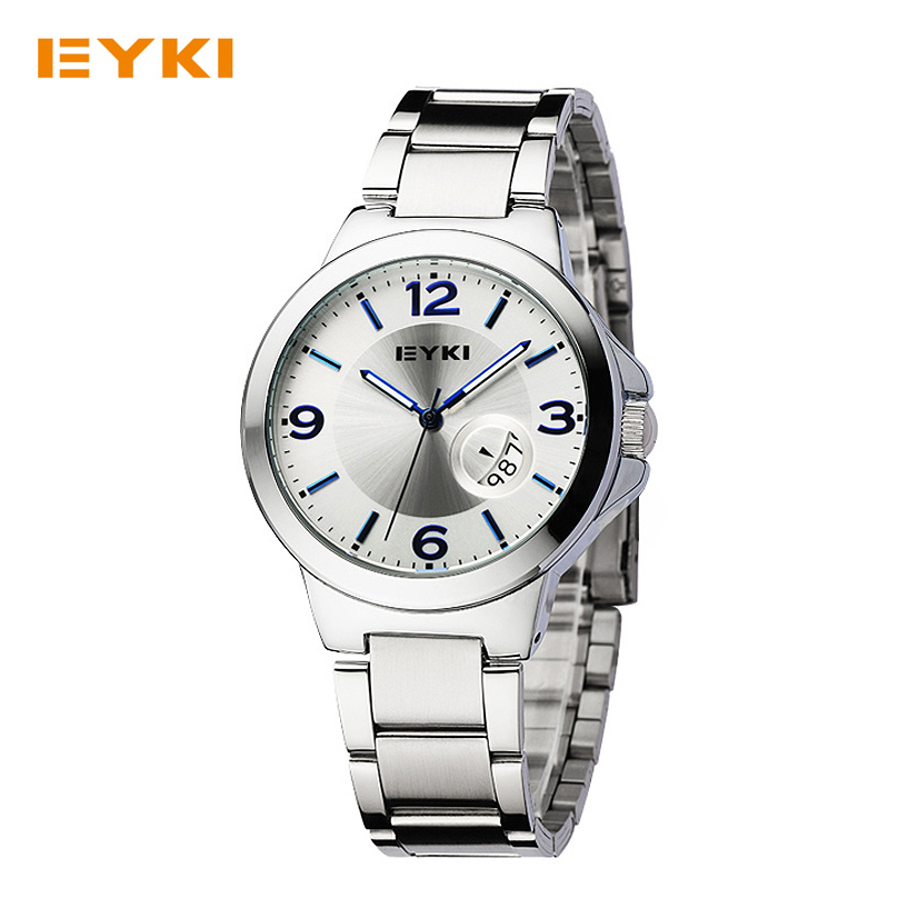 Luxury Eyki Brand Quartz Watches Calendar Stainless Steel Men Women Watch Luminous Lovers Waterproof Wristwatch Relogio Feminino
